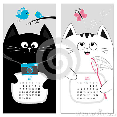 Cat calendar 2017. Cute funny cartoon character set. May June spring summer month. Vector Illustration