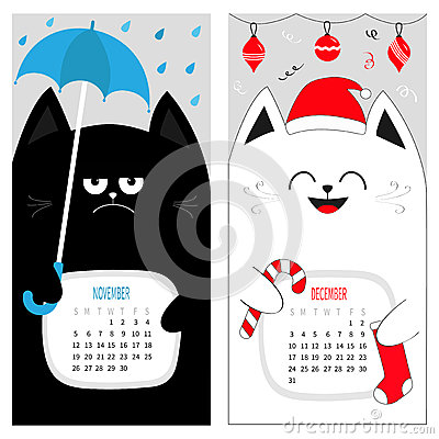 Cat calendar 2017. Cute funny cartoon character set. November December autumn winter month. Vector Illustration