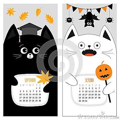 Cat calendar 2017. Cute funny cartoon character set. September October autumn month Vector Illustration