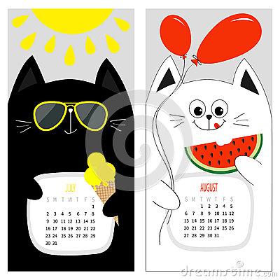 Cat calendar 2017. Cute funny cartoon white black character set. July August hello summer month. Vector Illustration