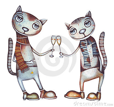 Cat and champagne. Party illustration.