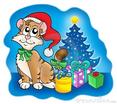 Cat with Christmas tree and gifts