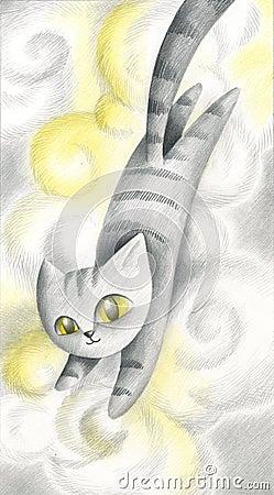 Cat in the clouds - artwork