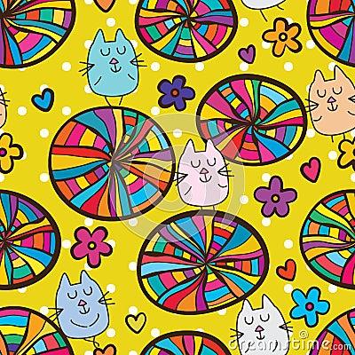 Free Cat Colorful Circle Style Seamless Pattern Stock Image - 93093701