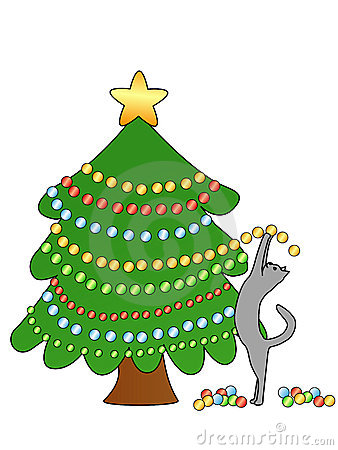Cat decorating Christmas tree