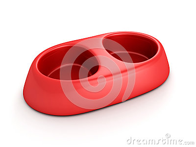 Cat or dog feeding red pet bowl on white