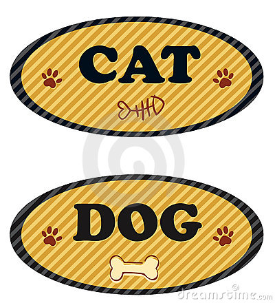 Cat and dog label