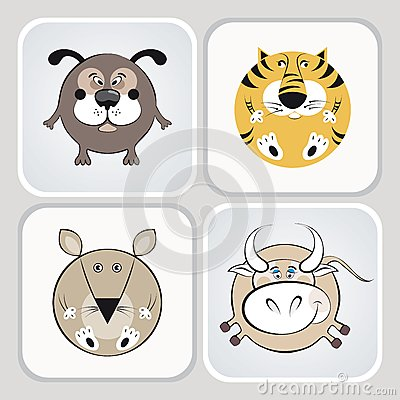 Cat, dog, mouse and cow icons