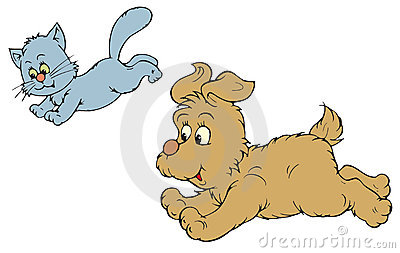 Cat and Dog (vector clip-art)