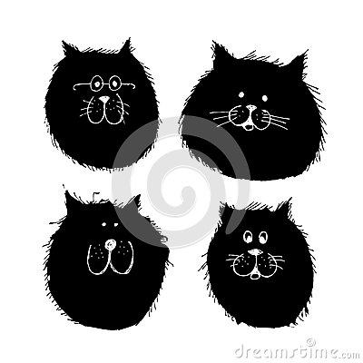 Cat and dogs faces silhouette, sketch for your