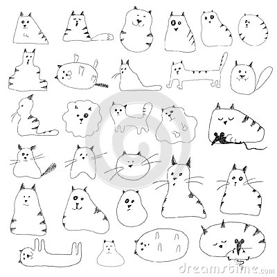 Free Cat Doodles Royalty Free Stock Photography - 34077537