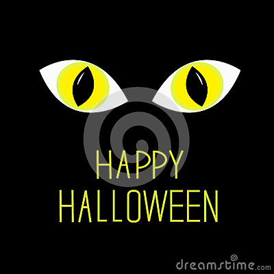 Cat eyes in dark night. Happy Halloween card.