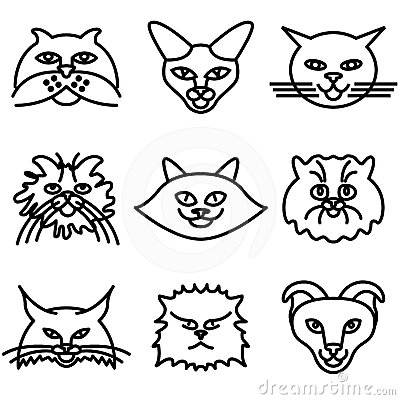 Cat faces icons