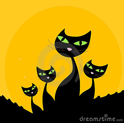 Free Cat Family - Black Silhouette On Orange Background Royalty Free Stock Photography - 13885207