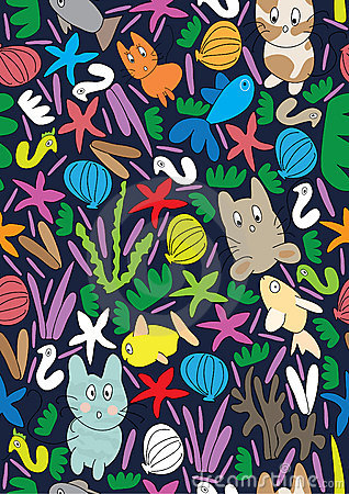 Cat Fish Sea Seamless Pattern_eps