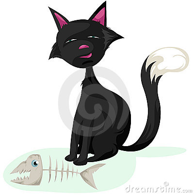 Cat and fish skeleton