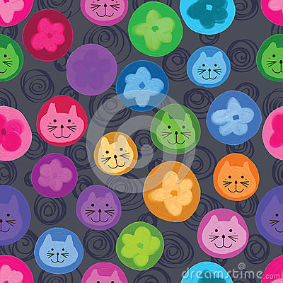 Free Cat Flower Circle Cute Seamless Pattern Stock Images - 61120444