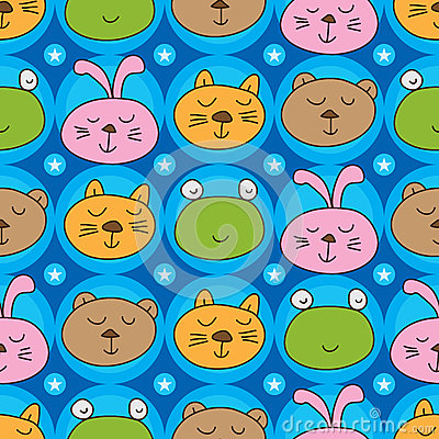 Free Cat Frog Bear Rabbit Head Symmetry Seamless Pattern Stock Images - 68387074