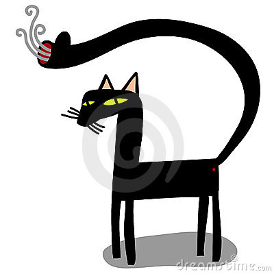 Cat with gun in the tail