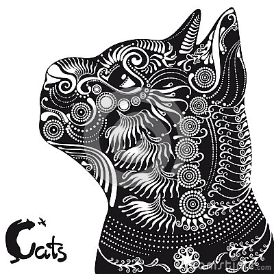 Cat Head For A Tattoo Or Stencil Stock Illustration
