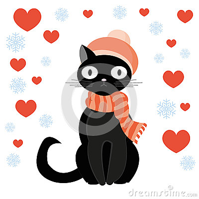 Cat and heart Vector Illustration