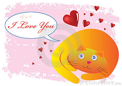 Cat I Love You Illustration