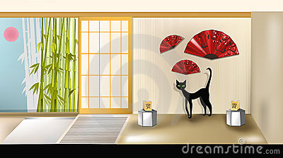 Cat in Japanese Interior