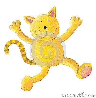 Cat jumps for joy