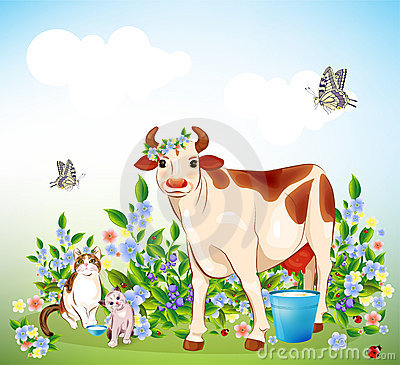 Cat, kitten and cow