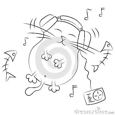 Cat listening to music. illustration