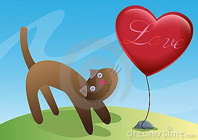 Cat and Love Ballon Illustration