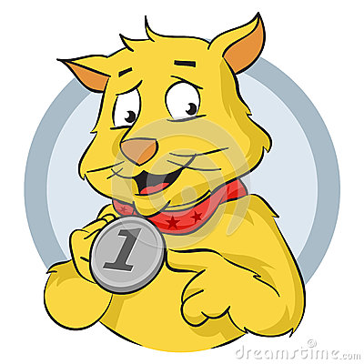 Cat with medal