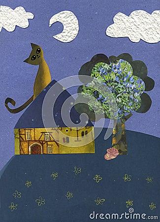 Cat in the moonlight - artwork