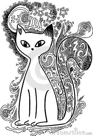 Cat in the moonlight sketchy doodles
