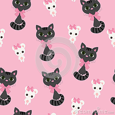 Cat and mouse seamless wallpaper