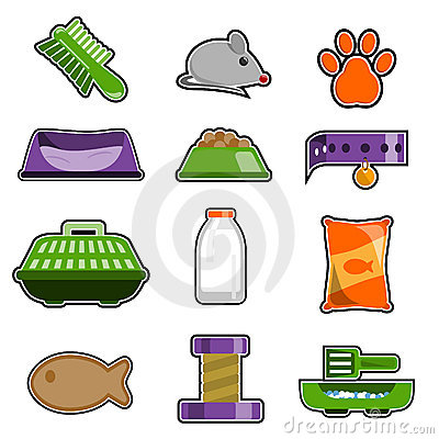 Cat object icon set