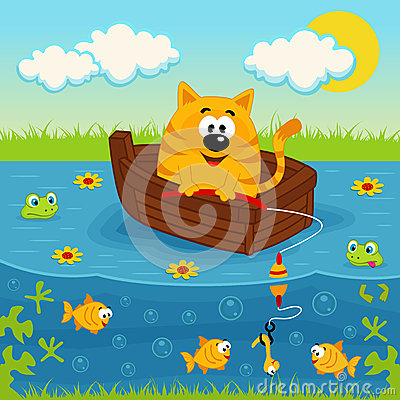 Free Cat On A Boat Fishing In A Pond Royalty Free Stock Image - 36563416
