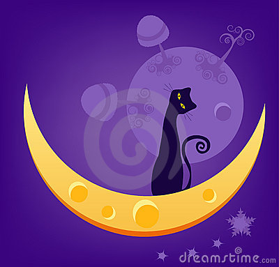 Free Cat On Moon Royalty Free Stock Images - 6469489