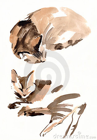 Cat painting sketch