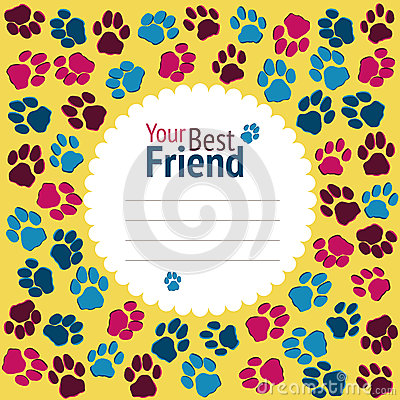 Free Cat Party Invitation. Cats Footprints Banner. Colorful Flyer.  V Stock Photos - 49119823