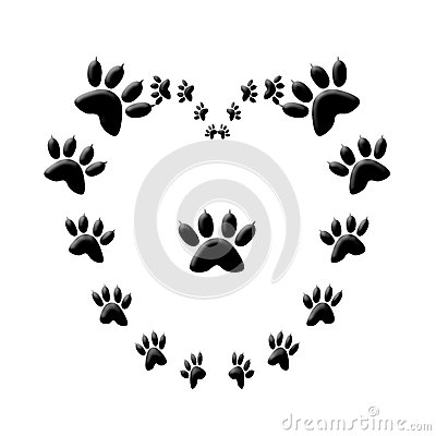 Cat Paw Print Love Heart Stock Photography Image 29614742