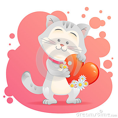 Cat pet isolated holding heart