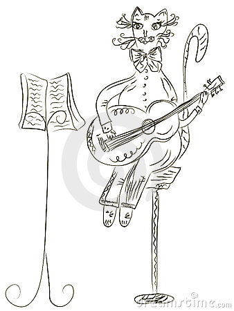 Cat playing guitar sketch