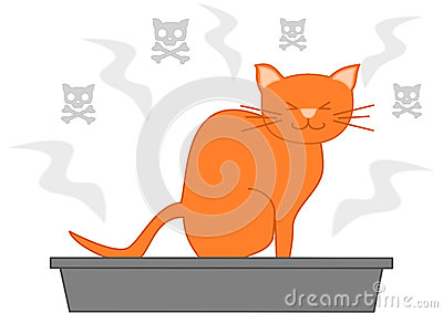 Cat Poop In The Litter Box Cartoon Illustration Stock ...