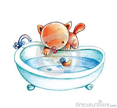 Cat prepares bath