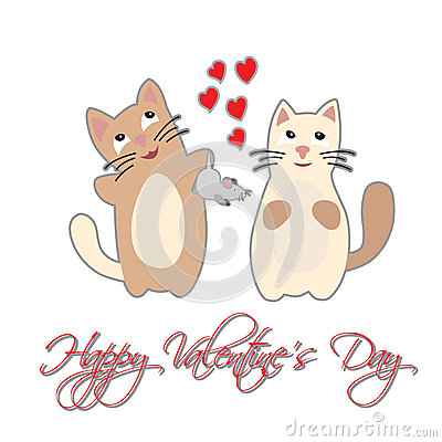 Free Cat Present Mouse. Happy Valentine S Day. Stock Photos - 62203793
