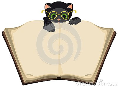 Cat reading open Book