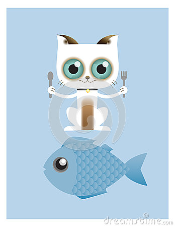 Cat Ready To Eat Big Fish Stock Vector Image 53734936