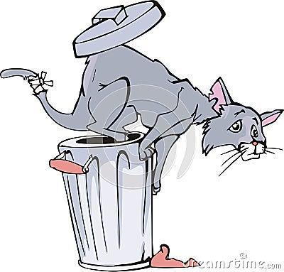 Cat and refuse bin cartoon