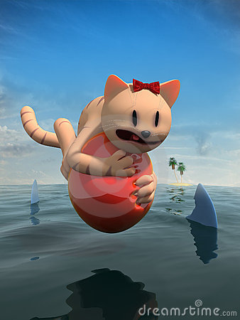 Cat riding balloon over water